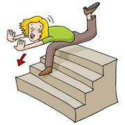 woman falling down stairs - stock illustration