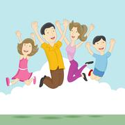 playful jumping family - stock illustration