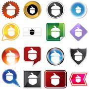 Acorn icon set Stock Illustration