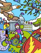Child adventure: bike ride Stock Illustration