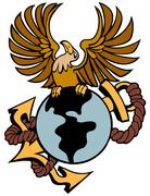 phoenix anchor globe - stock illustration