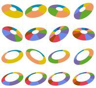 angled wheel hubs - stock illustration