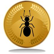 Gold coin - ant Stock Illustration