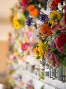 graves with flowers on a wall of a european cemetery. - stock photo