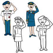 army cartoon people - stock illustration