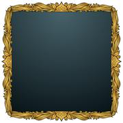 spade picture frame - gold - stock illustration