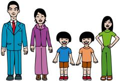 Modern asian family Stock Illustration
