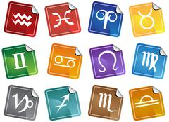 Zodiac stickers Stock Illustration