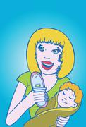 mom with baby - stock illustration