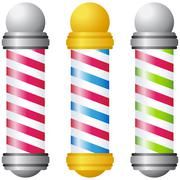 barbershop poles - gold and silver - stock illustration