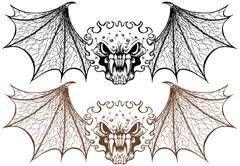 winged demons - stock illustration
