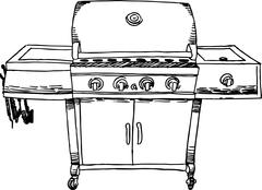 Stock Illustration of stainless steel barbeque (bbq) grill - b&w
