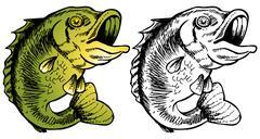 Big mouth bass Stock Illustration
