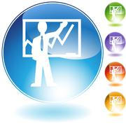 Instructor teaching crystal icon Stock Illustration