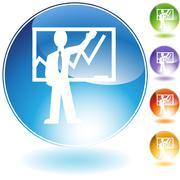 instructor teaching crystal icon - stock illustration