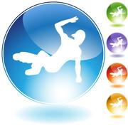 Stock Illustration of breakdancer crystal icon