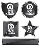Buddha icon set Stock Illustration