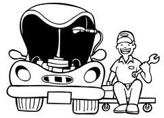 auto mechanic car hood - stock illustration