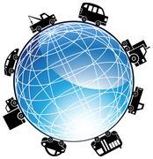 Auto globe icon Stock Illustration
