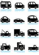 automotive buttons - black and white - stock illustration