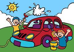 Kids washing car. Stock Illustration
