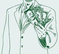 man paying cash - stock illustration