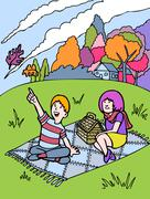 kid adventures: fall picnic with friend - stock illustration