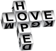 hope love dice - stock illustration