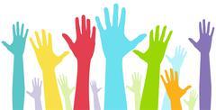 diversity show of hands - stock illustration