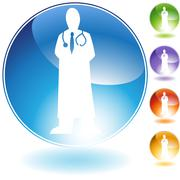 physician crystal icon - stock illustration
