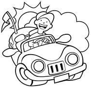 convertible car line art - stock illustration