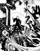 dungeon battle - stock illustration