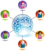 Global communication between people Stock Illustration