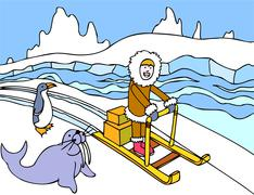 eskimo sled ride - stock illustration
