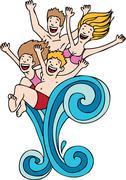 splashing family - stock illustration