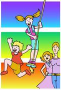 family fun - stock illustration