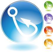 Stock Illustration of fishing hook crystal icon