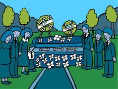 Funeral service event - dark Stock Illustration
