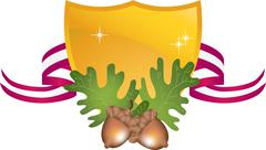 Acorns with shield and ribbon Stock Illustration