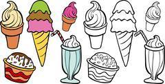 Ice cream treats Stock Illustration