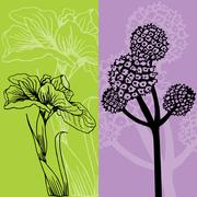 iris and flower - stock illustration