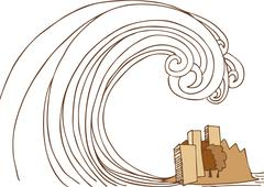 Tsunami tidal wave on city Piirros