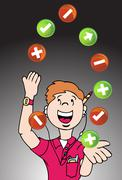 juggling web developer - stock illustration