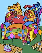 Jumping dragon castle Stock Illustration