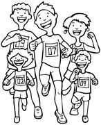 marathon runners - stock illustration