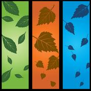 3 panel nature set - stock illustration