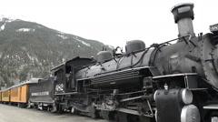 Historic steam train in yard at Silverton-N8-HD P-1933 Stock Footage
