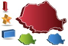 Stock Illustration of 3d romania country map