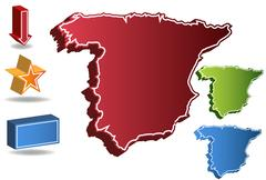 3d spain country map - stock illustration
