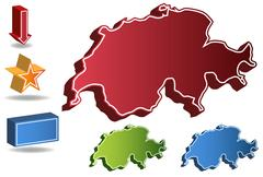 Stock Illustration of 3d switzerland country map